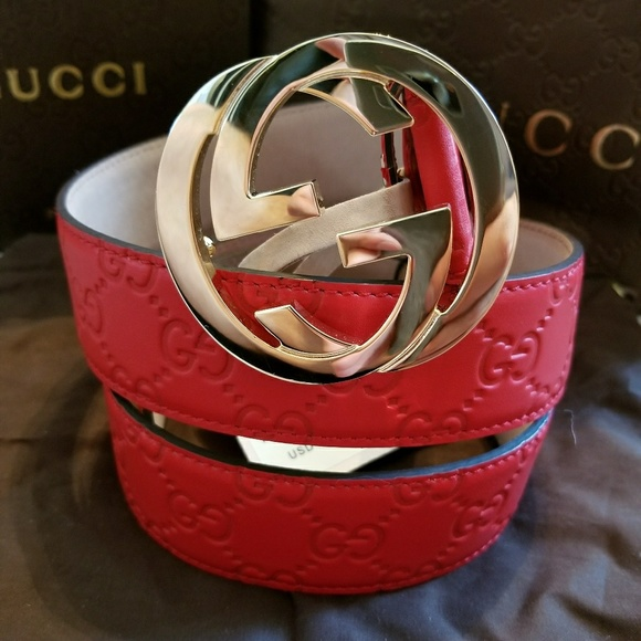 de6f2937bc8 💓Authentic Gucci Belt Red Guccissima Print